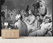 The Turkish Bath, 7th October 1859 (oil on canvas) (b/w photo) mural wallpaper living room preview