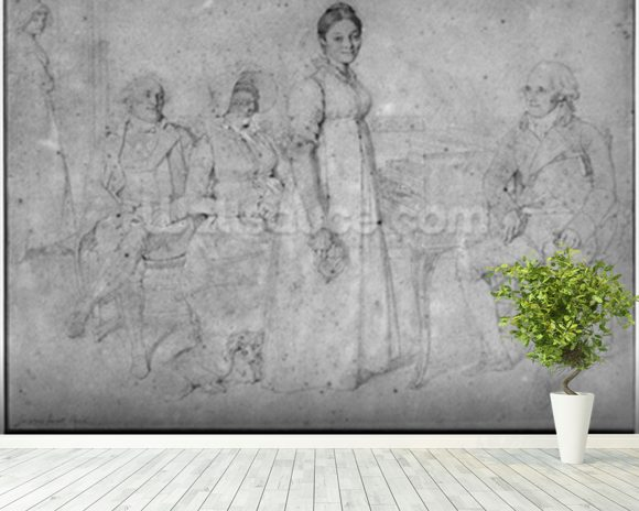 The Forestier Family, 1806 (graphite on paper) (b/w photo) (see also 233242) wall mural room setting