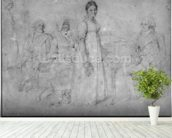 The Forestier Family, 1806 (graphite on paper) (b/w photo) (see also 233242) wall mural in-room view