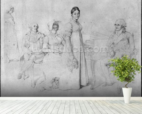 The Forestier Family (graphite on paper) (b/w photo) (see also 233241) wallpaper mural room setting