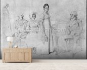 The Forestier Family (graphite on paper) (b/w photo) (see also 233241) wallpaper mural living room preview