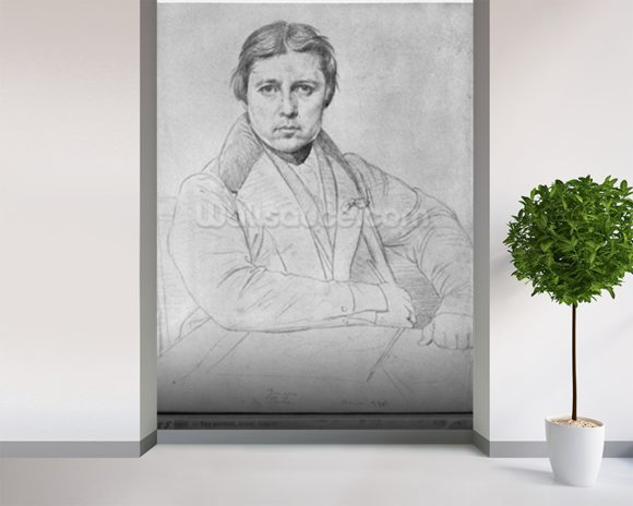 Self Portrait, 1835 (graphite on paper) (b/w photo) wallpaper mural room setting