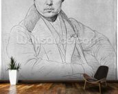 Self Portrait, 1835 (graphite on paper) (b/w photo) wallpaper mural kitchen preview