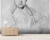 Self Portrait, 1835 (graphite on paper) (b/w photo) wallpaper mural living room preview