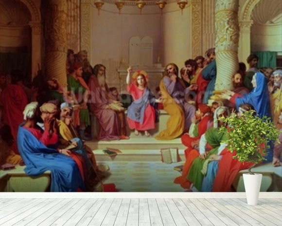Jesus Among the Doctors, 1862 (oil on canvas) mural wallpaper room setting