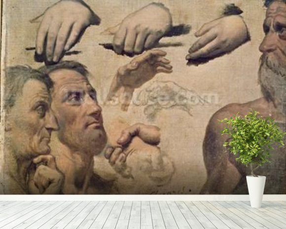 Study of Heads and Hands for the Apotheosis of Homer (oil on canvas) wall mural room setting