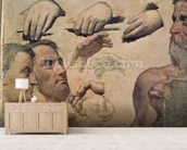 Study of Heads and Hands for the Apotheosis of Homer (oil on canvas) wall mural living room preview