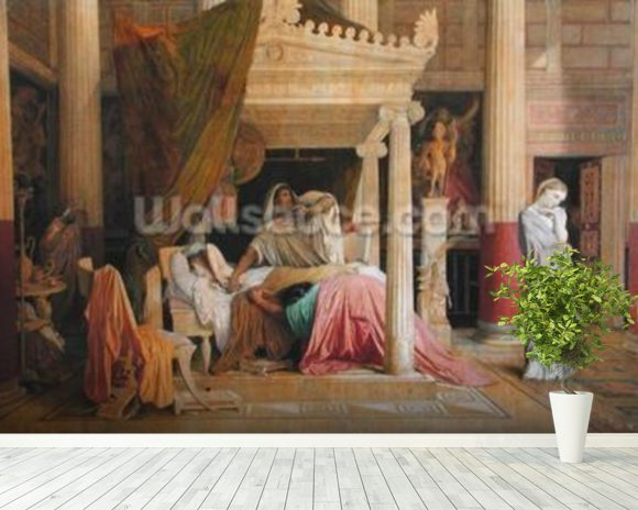 Antiochus and Stratonice, 1840 (oil on canvas) wallpaper mural room setting