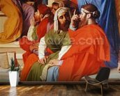 Jesus Among the Doctors, detail of the doctors and the Virgin Mary, 1862 (oil on canvas) mural wallpaper kitchen preview