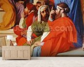 Jesus Among the Doctors, detail of the doctors and the Virgin Mary, 1862 (oil on canvas) mural wallpaper living room preview
