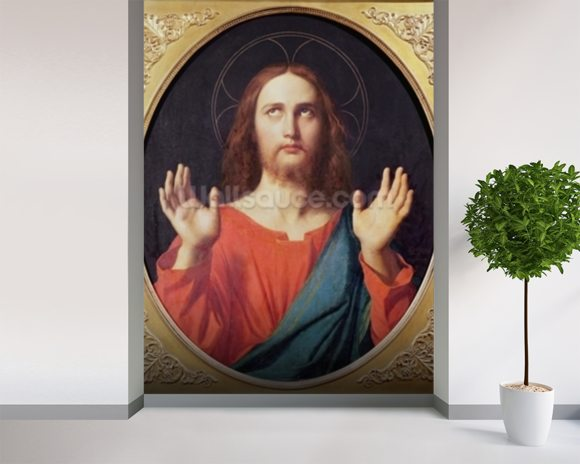 Christ (oil on canvas) wallpaper mural room setting
