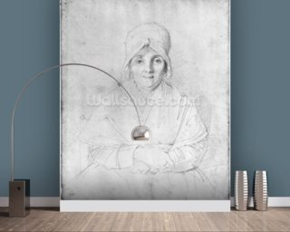 Madame Ingres Mere (1758-1817) 1814 (graphite on paper) (b/w photo) wall mural