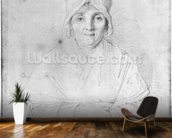 Madame Ingres Mere (1758-1817) 1814 (graphite on paper) (b/w photo) wall mural kitchen preview