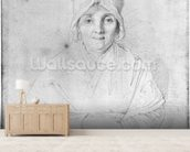 Madame Ingres Mere (1758-1817) 1814 (graphite on paper) (b/w photo) wall mural living room preview