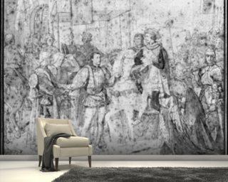Entry of the Dauphin, the future Charles V (1337-80) into Paris, 1814 (pencil on paper) (b/w photo) wallpaper mural