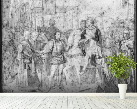 Entry of the Dauphin, the future Charles V (1337-80) into Paris, 1814 (pencil on paper) (b/w photo) wallpaper mural room setting