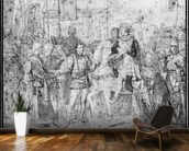 Entry of the Dauphin, the future Charles V (1337-80) into Paris, 1814 (pencil on paper) (b/w photo) wallpaper mural kitchen preview