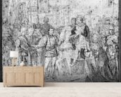 Entry of the Dauphin, the future Charles V (1337-80) into Paris, 1814 (pencil on paper) (b/w photo) wallpaper mural living room preview