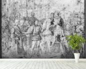 Entry of the Dauphin, the future Charles V (1337-80) into Paris, 1814 (pencil on paper) (b/w photo) wallpaper mural in-room view