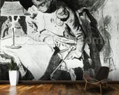 Napoleon studying his maps by lamplight, c.1800 (india ink) wall mural kitchen preview