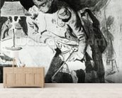 Napoleon studying his maps by lamplight, c.1800 (india ink) wall mural living room preview