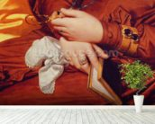 Portrait of Madame Marcotte, detail of her hands, 1826 (oil on canvas) (detail of 83538) wallpaper mural in-room view