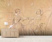Countess Charles dAgoult (1805-76) and her daughter Claire dAgoult, May 1849 (pencil with white chalk on paper) wall mural living room preview