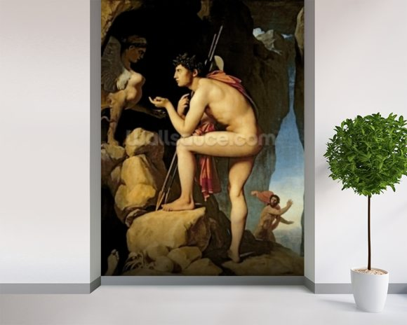 Oedipus and the Sphinx, 1808 (oil on canvas) wall mural room setting