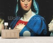 The Virgin of the Host, 1866 (oil on canvas) wallpaper mural living room preview