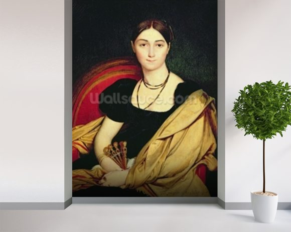 Madame Devaucay, 1807 (oil on canvas) wallpaper mural room setting