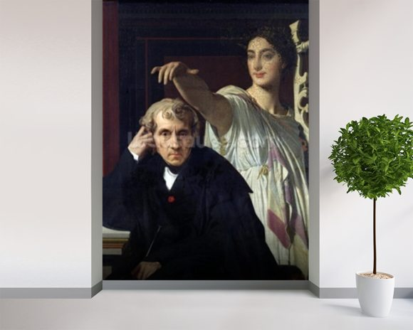 Portrait of the Italian Composer Cherubini (1760-1842) and the Muse of Lyrical Poetry, 1842 (oil on canvas) wall mural room setting