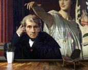 Portrait of the Italian Composer Cherubini (1760-1842) and the Muse of Lyrical Poetry, 1842 (oil on canvas) wall mural kitchen preview