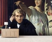 Portrait of the Italian Composer Cherubini (1760-1842) and the Muse of Lyrical Poetry, 1842 (oil on canvas) wall mural living room preview