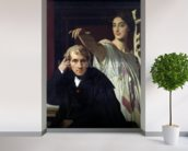 Portrait of the Italian Composer Cherubini (1760-1842) and the Muse of Lyrical Poetry, 1842 (oil on canvas) wall mural in-room view