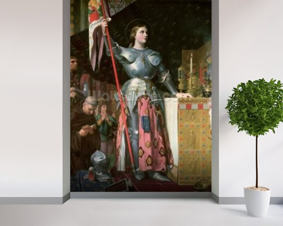 Joan of Arc (1412-31) at the Coronation of King Charles VII (1403-61) 17th July 1429, 1854 (oil on canvas) wallpaper mural room setting