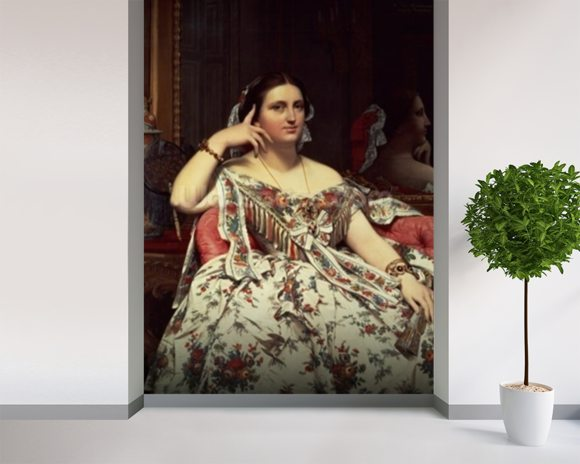 Madame Moitessier, 1856 (oil on canvas) mural wallpaper room setting