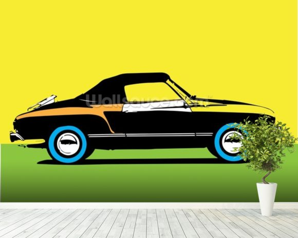 Pop Art - Car mural wallpaper room setting