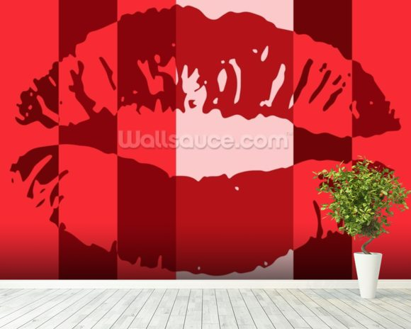 Pop Art - Lips mural wallpaper room setting & Pop Art - Lips Wallpaper Wall Mural | Wallsauce USA