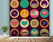Pop Art - British Musical Pattern wallpaper mural in-room view