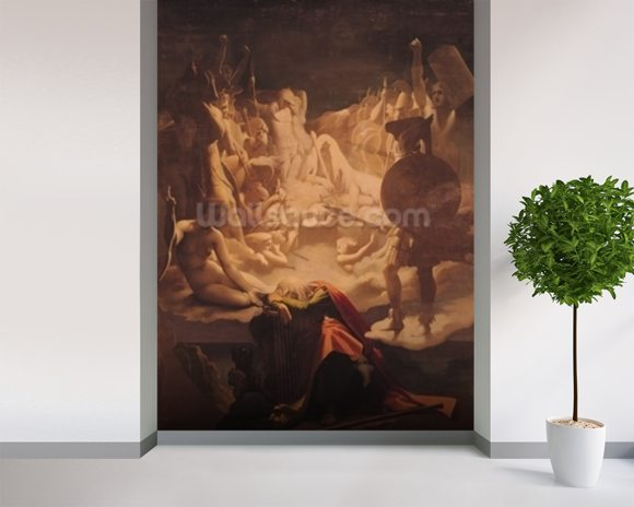 The Dream of Ossian, 1813 (oil on canvas) mural wallpaper room setting