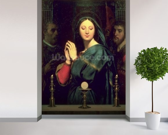 The Virgin with the Host, 1841 (oil on canvas) mural wallpaper room setting