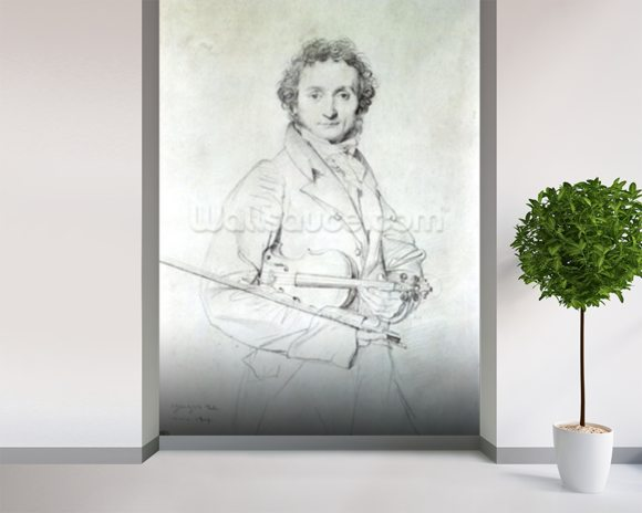 Portrait of Niccolo Paganini (1782-1840) 1819 (pencil on paper) wall mural room setting