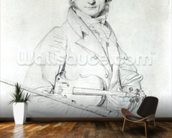 Portrait of Niccolo Paganini (1782-1840) 1819 (pencil on paper) wall mural kitchen preview
