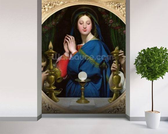 The Virgin of the Host, 1854 (oil on canvas) wall mural room setting