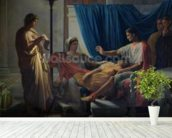 Virgil Reading the Aeneid to Livia, Octavia and Augustus, c.1812 (oil on canvas) wallpaper mural in-room view