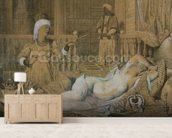 Odalisque with a Slave, 1858 (graphite & wash on paper heightened with white) wallpaper mural living room preview