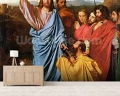 Jesus Returning the Keys to St. Peter, 1820 (oil on canvas) wall mural living room preview