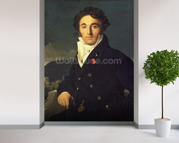 Portrait of Charles Cordier (1777-1870) 1811 (oil on canvas) mural wallpaper room setting