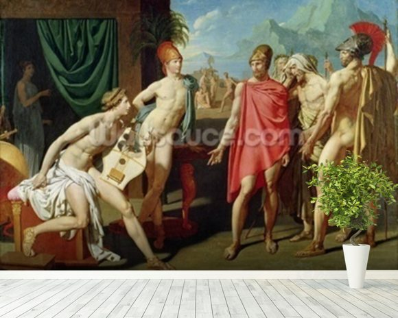 Ambassadors Sent by Agamemnon to Urge Achilles to Fight, 1801 (oil on canvas) mural wallpaper room setting