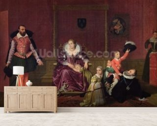 Henri IV (1553-1610) King of France and Navarre Playing with his Children as the Ambassador of Spain Makes his Entrance, 1817 (oil on canvas) wallpaper mural